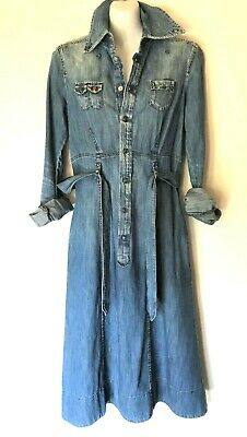 AU148 • Buy DIESEL (Italy) Denim Dress Size M *8 Mid-Blue Shirtmaker Style Made In Italy