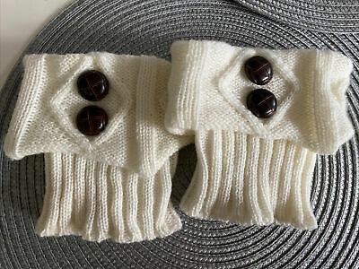 £3.50 • Buy Knitted Boot Toppers Boot Cuffs Cream  One Size