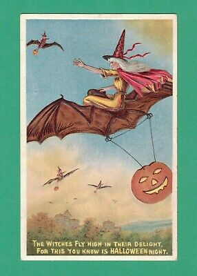 $ CDN50.26 • Buy Vintage Halloween Postcard Witches Fly On Bats At Dusk Hanging Jol