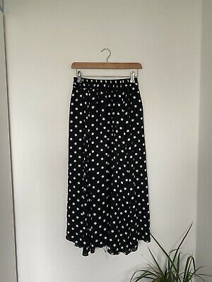 Unbranded Black And White Polka Dot Long Floaty Maxi Skirt, Recommended Size 10 • 5£