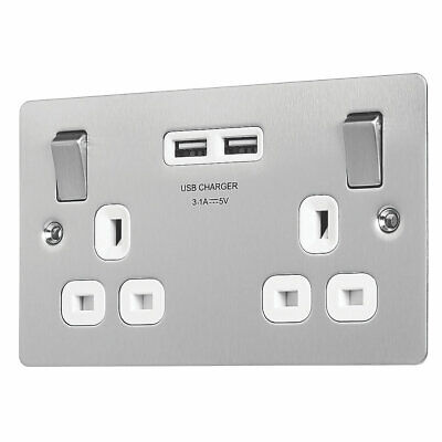 Lap 13a 2-gang Sp Switched Socket + 3.1a 2-outlet Usb Charger Brushed Stainless  • 12.50£