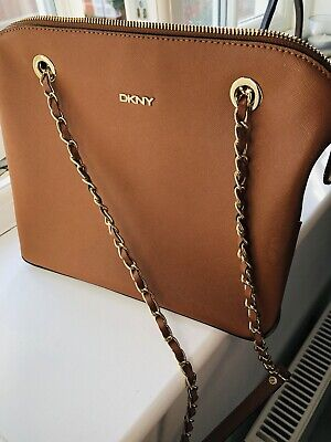 DKNY Saffiano Tan Leather Large Chain Strap Shoulder Bag • 50£