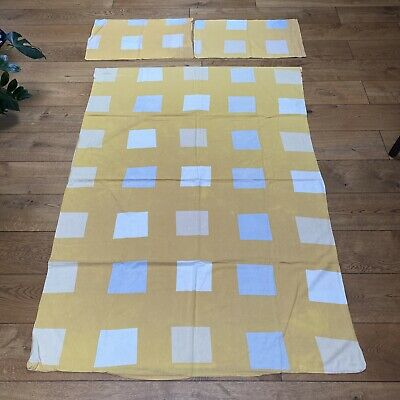 Ikea Single Duvet Cover And 2 Pillowcases Yellow Grey Squares Geometric • 2.99£