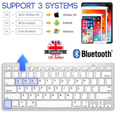 Rechargeable Wireless Bluetooth Keyboard For Laptop Ios Imac Ipad Android Tablet • 9.44£