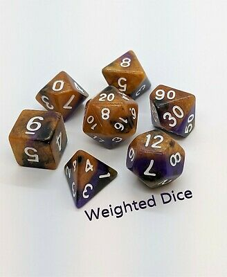 Weighted Dice Set - Loaded Dice For D&D - Royalty Gold And Purple • 70.05£