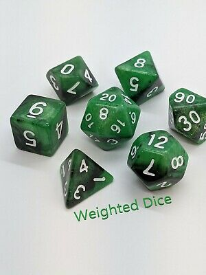 Weighted Dice Set - Loaded Dice For D&D - Venom Green • 70.05£