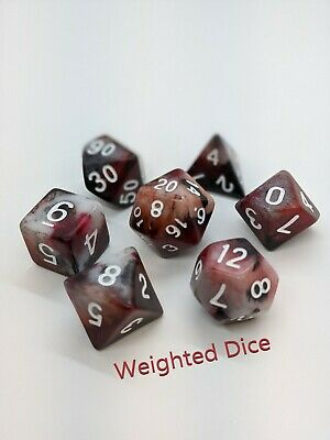 Weighted Dice Set - Loaded Dice For D&D - Bloodbath Red • 70.05£