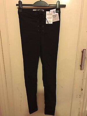 Primark Womens Black Lace Up Front High Waisted Skinny Jeans Size 8 • 1.40£