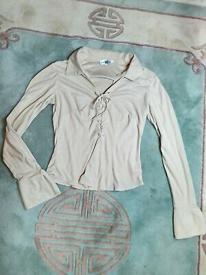 90s Suede Stretch Long Sleeve Lace Up Top Collar UK 8 Boho Hippie Y2K  • 7.50£