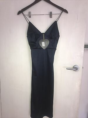 AU10 • Buy Asos Club L Navy Bodycon Midi Silky Dress 6 BNWT