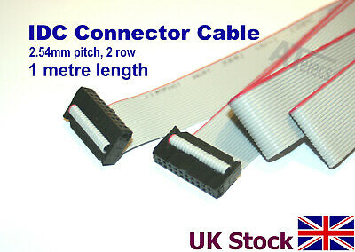 IDC Header Jumper Connector, 1 METRE, 2.54mm Pitch, 2 Row, Ribbon Cable, Female • 4.84£