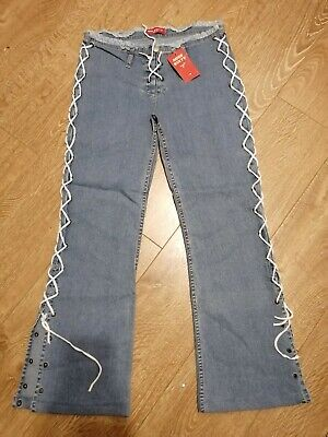 MISS SIXTY Lace-Up Bootcut Jeans- Rock Chick/Goth/Emo/Alt/Unusual - W31 Tagged • 8.50£