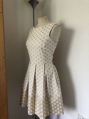 AU7.21 • Buy Amari Camel & Cream Special Occasion Fit And Flare Polka Dot Dress 12
