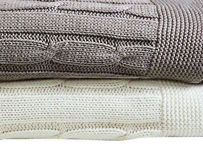 £17.45 • Buy Super Soft Warm 100% Ring Spun Cotton Cable Knit Throw Blanket