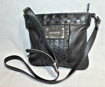 AU30 • Buy RRP$345 OROTON Small Black Leather Geometric Patchwork Crossbody Bag/Handbag