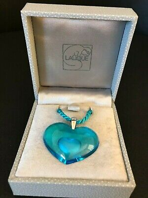 Lalique Blue  Tender Heart  Pendant Necklace  Heart Within A Heart  Boxed. • 99.99£