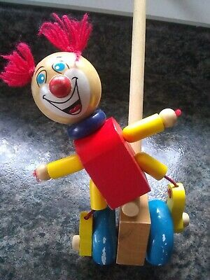 Traditional Wooden Push Along Toy Clown For Toddler Boy Or Girl • 2.50£