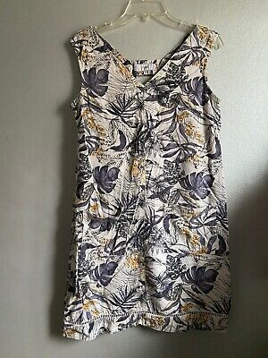 AU5.42 • Buy Next Cotton Summer Sleeveless Shift Size 10 Floral Blue And Yellow Dress Tunic