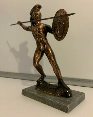 Leonidas Spartan Greek Warrior Statue Shield Spear Bronze Art Sculpture  • 95£