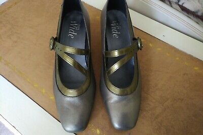Pavers Wide Fit Mary Jane Style Shoes. Pewter Leather. Size 8.5 • 13.99£