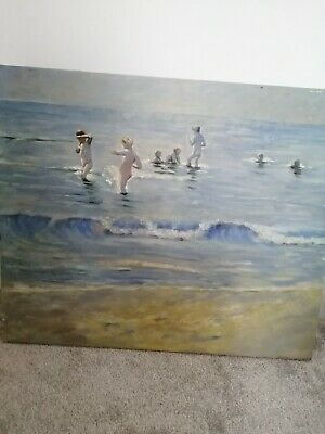 Original Oil Painting Sea Bathers • 25£
