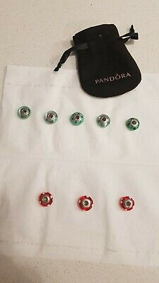 AU199 • Buy Rare 8 Authentic Pandora Green And Red Murano Glass Charms