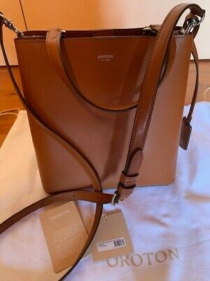 AU149 • Buy Oroton Muse Medium Bucket Bag Saffiano Leather Cognac AS NEW