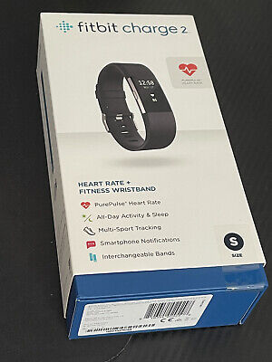 AU125 • Buy Fitbit Charge 2 Heart Rate Fitness Activity Tracker - Black Small - Brand New