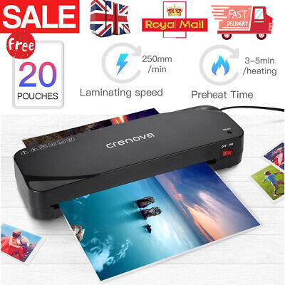 Home Office A4 Laminator Machine & Free Paper Trimmer+Corner Rounder+20 Pouches • 19.95£