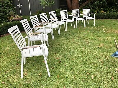 AU679 • Buy 8 Freedom Adelphi White Outdoor Dining Chairs. RRP $1800. Great Condition.