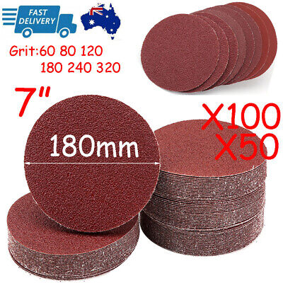AU28.89 • Buy 50/100X 180mm/ 7  Sanding Discs Hook Loop Orbital Sander Pads 60 80 120 240 320G