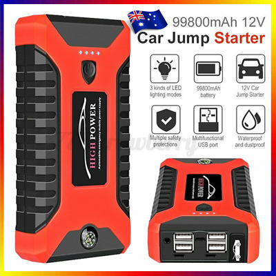 AU59.99 • Buy 12V 99800mAh Vehicle Jump Starter 600A Car Battery Charger Booster Power Bank