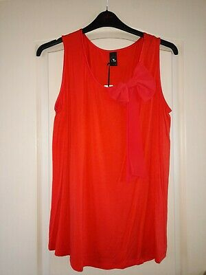 £12 • Buy Womens Gok Wan Short Sleeve Summer Red Bow Top Size 18