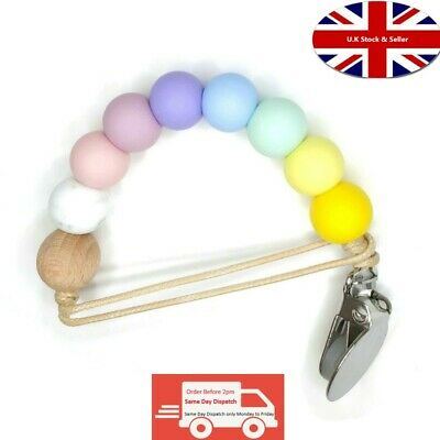 £3.99 • Buy Silicone Teether Pacifier Clip BPA Free Soft Beads Rainbow Colours For Dummy Toy