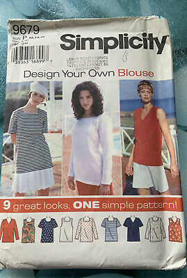 Simplicity Ladies 'Design Your Own Blouse' Sewing Pattern Size 12-16 Uncut • 1.70£