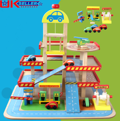 £34.50 • Buy Wooden 3 Storey Garage Toy Simulation Car Park Kid's Playset Educational Toy