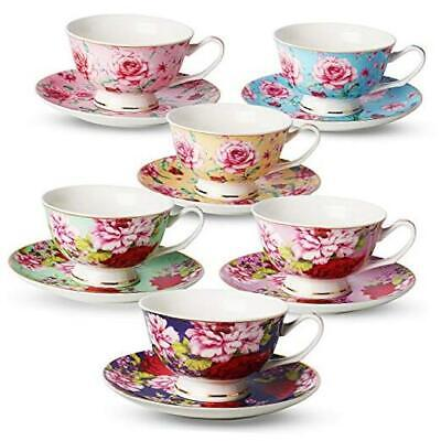 BTaT- Tea Cups, Tea Cups And Saucers Set Of 6, Tea Set, Floral Tea Cups Cups • 43.13£