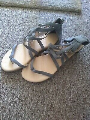 Gladiator Grey Suede Sandals Size 7 • 5£