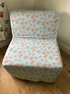Slip Cover For Ikea Lycksele Chair Bed Duck Egg Chintz Cotton Fabric • 65£