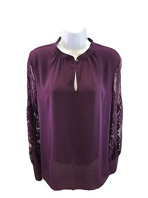 $ CDN26.34 • Buy White House Black Market Women's Purple Lace Sleeve Blouse Sz 10