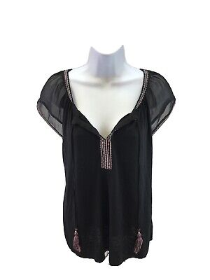 $ CDN24.31 • Buy White House Black Market Women's Short Sleeve Embroidered Tassel Top Sz L