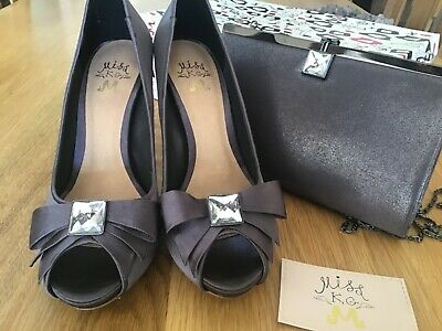 Miss Kg Kurt Geiger Haisley Pewter Satin Occasion Shoes & Matching Bag Size 6/39 • 27.50£