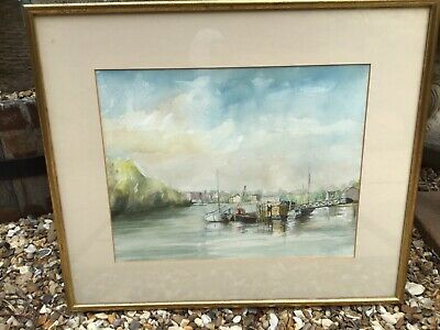 Vintage Wood Framed Watercolour Painting-river Sea Boats, Yachts • 17.50£
