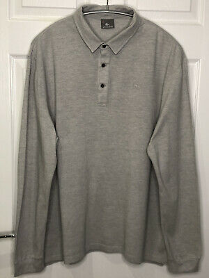 LACOSTE Long Sleeve Grey Polo Shirt - Men's 3XL - Size 8 - Excellent Condition • 13.50£