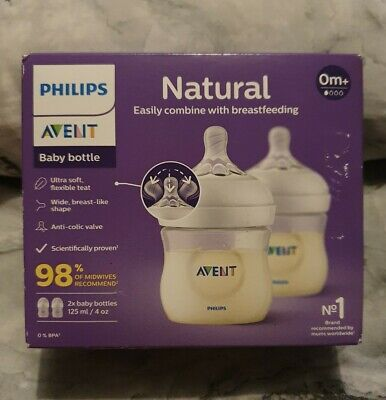 AU8.86 • Buy New 2x Philips Avent Natural Baby Bottles Feeding Bottles 125ml 4oz O+mths
