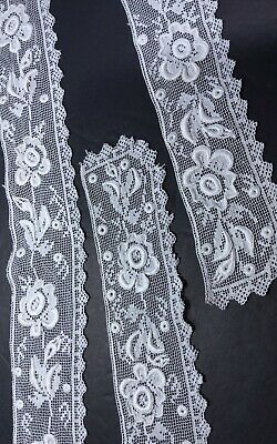 Handmade Filet Lace W/embroidered Accents Collar And Cuffs. Off White Beautiful! • 22.89£