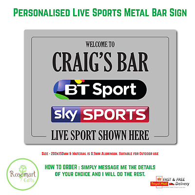£4.99 • Buy Personalised Bt Sports Sky Sports Bar Sign Metal Plaque Pub Man Cave Shed Beer