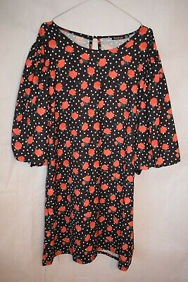 Ladies Boohoo Polka Dot Rose Print Top Dress Oversized Size 18 New Without Tags • 4.99£