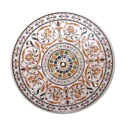 AU4752.67 • Buy 48  White Marble Round Dining Garden Table Top Marquetry Inlay Patio Decor E1062