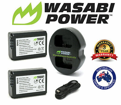 AU56.50 • Buy Wasabi Battery X 2 & Charger For Sony NP-FW50 And Sony Alpha A7,7II,7R,7S,a3000